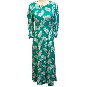 Vintage Vera Mont Paris Green Floral Maxi Dress
